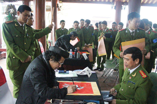Writing calligraphy letter is one of the beautiful cultural activities during Tet festival in Vietnam