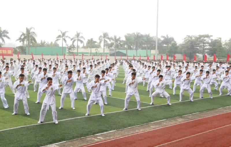 Martial art performance by police cadets